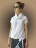 Picture of  WHITE LINEN TOP NAVY, short sleeve